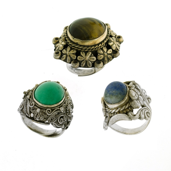 3 Var Silver Stone Set Dress Rings. Incl. turquoise; lapis lazuli, etc.