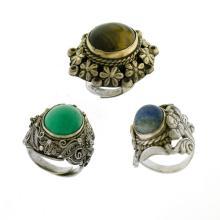 3 Var Silver Stone Set Dress Rings.  Incl. turquoise; lapis lazuli, etc.