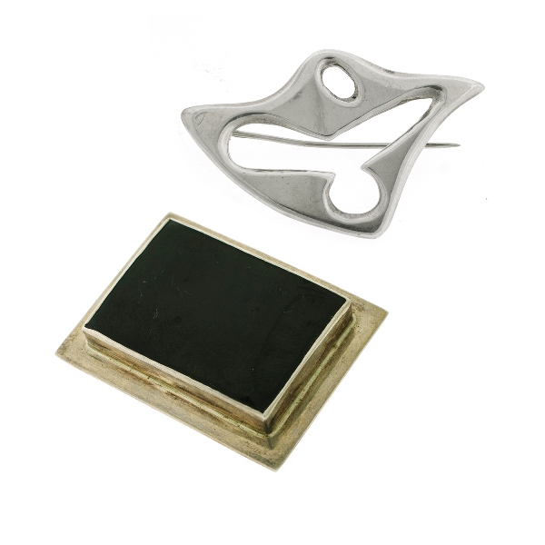 Silver Brooch & Buckle.  Incl. free form brooch designed by Philip Rasmussen; & onyx set buckle.