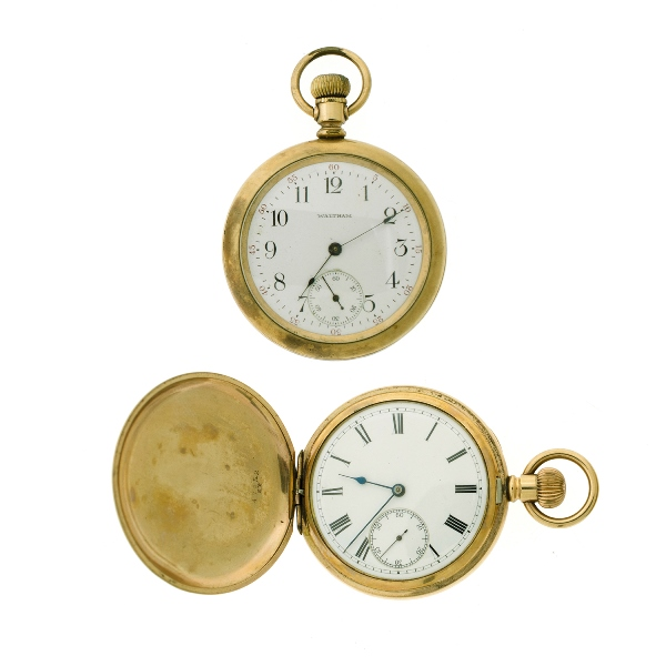 2 Var Waltham Gold Plated Pocket Watches.  Both are operating, but may need service.