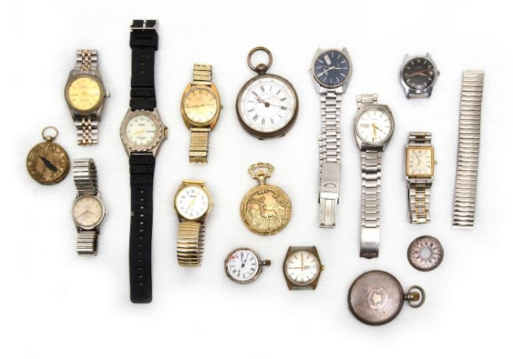 10 Var Vintage Mens Watches etc.  Incl. Seiko; Felca; Timex; Olymp etc. Plus 4 var pocket watches etc. All as inspected.