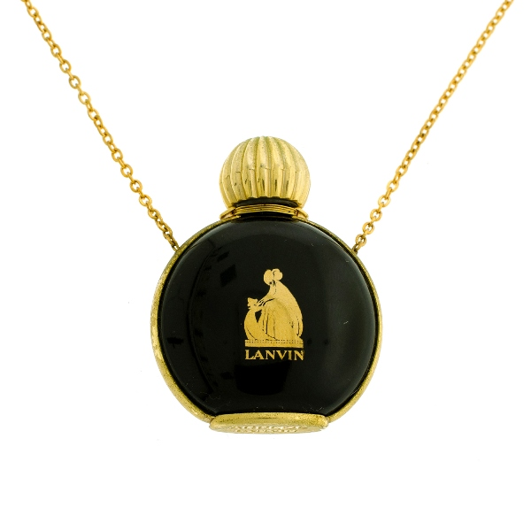 Lanvin Arpege Perfume Bottle Pendant.  On yellow gold chain link necklace.