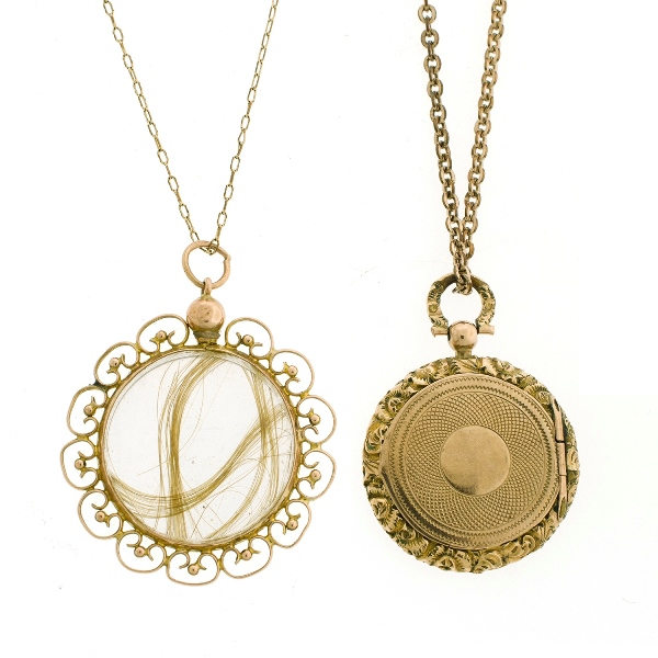 2 Var Yellow Gold Chain Lockets.  Incl. photograph locket; & crystal rememberance locket.