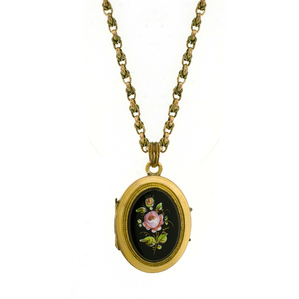 Victorian Gold Plated Mourning Locket & Chain. Locket with painted rose pietra dura decoration on black ground. Interior of locket inscribed & dated 1875.