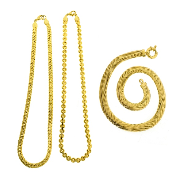 3 Var Gold Plated Necklaces.