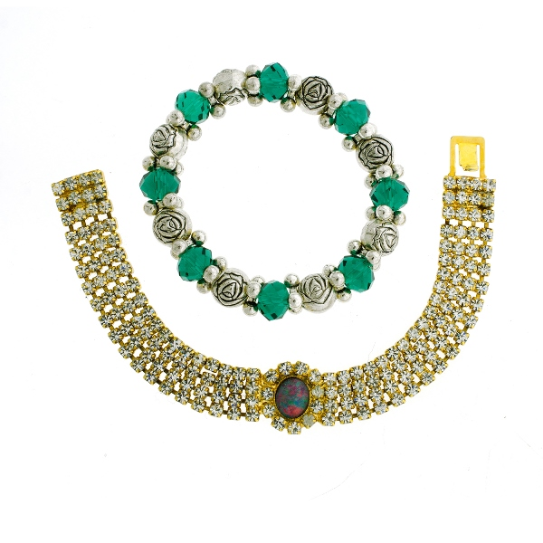 2 Var Costume Bracelets.  Incl. opal set with paste stones; & Pandora type with green & silver beads.