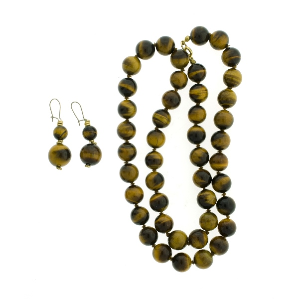 Tigers Eye Necklace & Matching Drop Earrings.