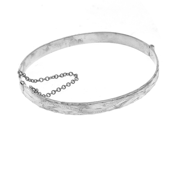 HMSS Bracelet. Birmingham import hallmark. Engraved decoration.