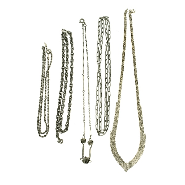 5 Var Silver Chain Necklaces.  Various lengths & links.