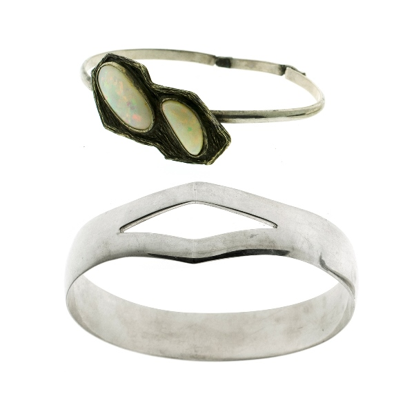 2 Var Silver Bangles.  Incl. 1 opal set; the other larger with designer finish.