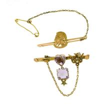 2 Var Early 9ct Yellow Gold Bar Brooches.  Incl. amethyst & seed pearl set (as inspected); & 1 inscribed 'Artists Rifles.'