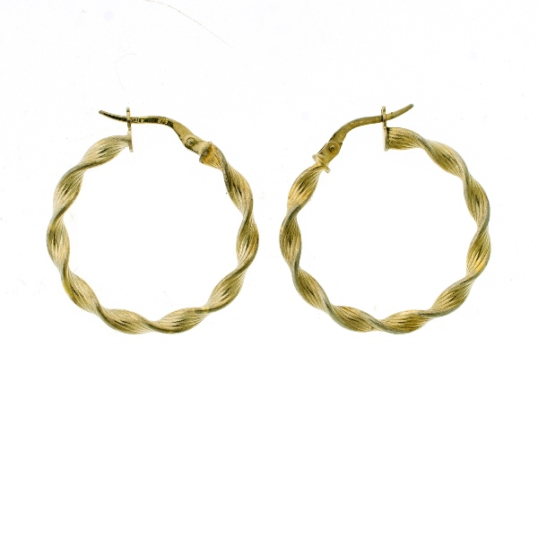 Pr 9ct Yellow & White Gold Hoop Earrings.
