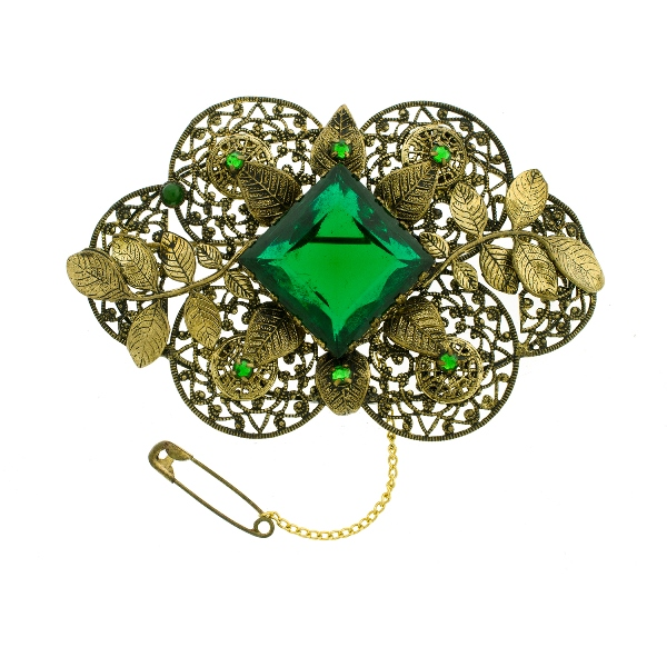 1930s Czechoslovakian Brooch.  Set with green paste in embossed leaf frame.