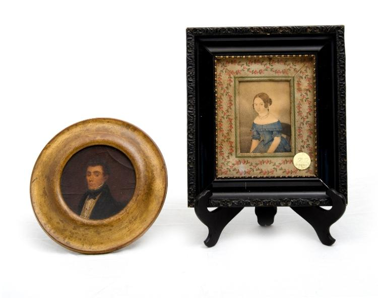 2 Early Miniature Portraits.  Incl. portrait of woman (w/clr 10x7.5cm); & portrait of gentleman (oil on board, circular 10.5x10.5cm). Both possibly 19th C. Provenance: purchased Christies sale 2-3-2005.