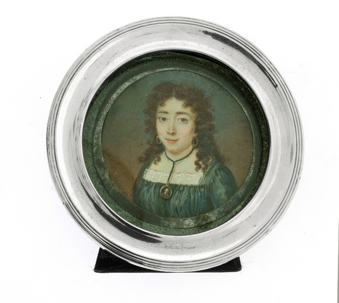 Early Miniature Portrait.  Young Woman. In HMSS frame (Birm. 1915). Portrait possibly 18th C. Provenance: purchased Christies sale 2-3-05.