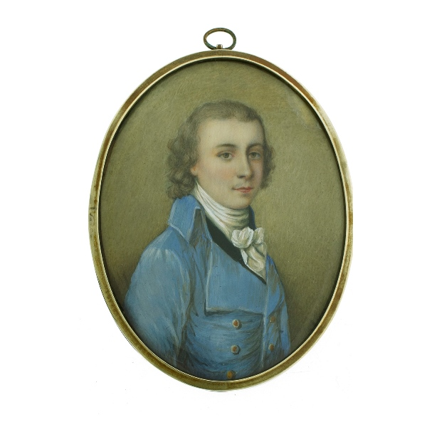 19th C? Miniature Portrait. Gentleman in blue jacket. Signed. Gilt metal initials verso 'AO.' Possibly French.