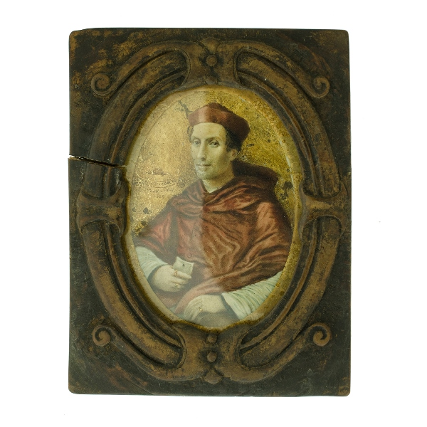 Early Miniature Portrait.  Bernado Dovizio Bibbiena, signed Tinio VALDI? 1629. Hand written label verso indicates: 'Cardinal Bernardo Dovizio da Bibbiena. Diplomatico...by Valdi after portrait by Raphael at Madrid.' Also another hand written label, 'Bishop Pompalier NZ....family.' Bishop Pompalier was an early Catholic Bishop of New Zealand. Provenance: purchased Christies sale 2-3-05.