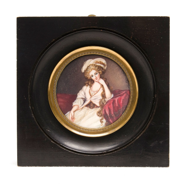 Late 19th C Miniature Portrait. Woman in pink gown. Signed.