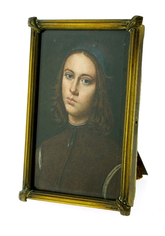 19th/20th C Miniature Portrait.  Young man in brown jacket. After Raphael.