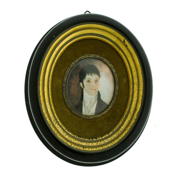 Early Miniature Portrait. Gentleman. Possible 18th C. Provenance: purchased Christies sale 2-3-05.