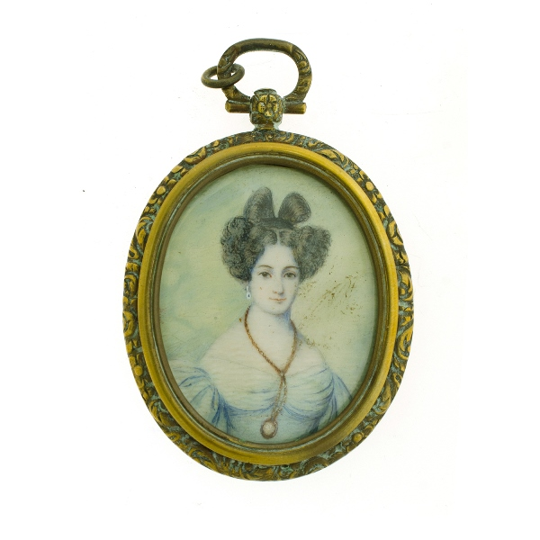 19th C Miniature Portrait.  Woman in blue dress with eyeglass. In early gilded locket shaped frame.