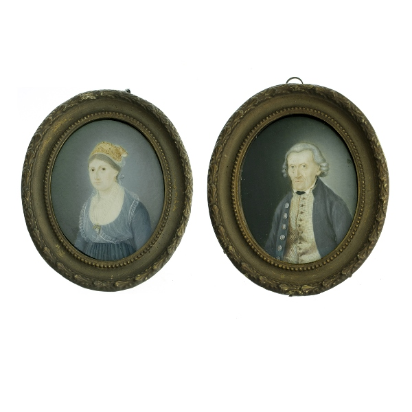 Pr Early German Miniature Portraits. Gentleman & lady. Descriptions in German of identities verso. Original frames.