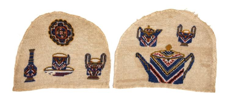 19th C Beadwork Tea Cosy. Decoration of a Tea Service to each side. In two sections.