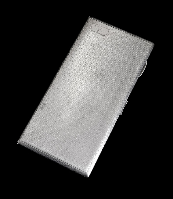 Geo V HMSS Cigarette Case. Birm. 1932, makers FF. Machined finish, monogrammed.