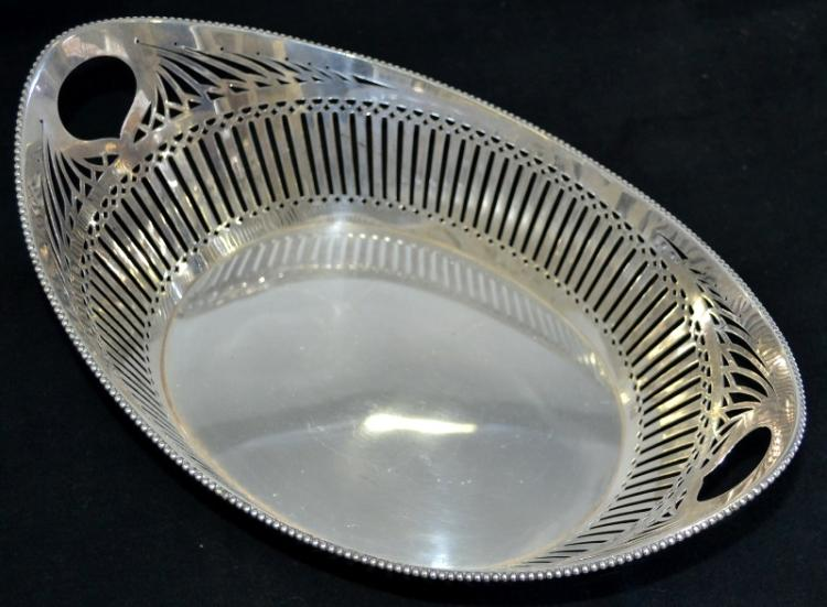 Dutch Hallmarked Silver Bowl.  Pierced decoration. Hallmarks to body.