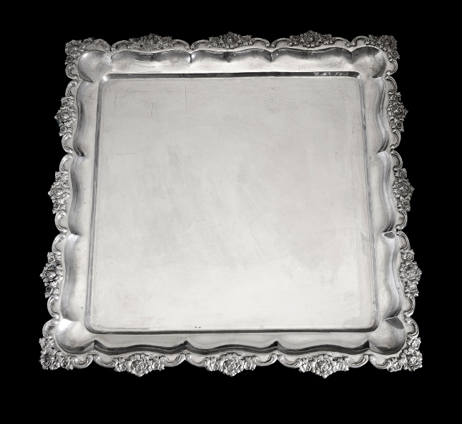 Austro-Hungarian Silver Salver.  Marked for 800. Embossed floral decoration to rim.