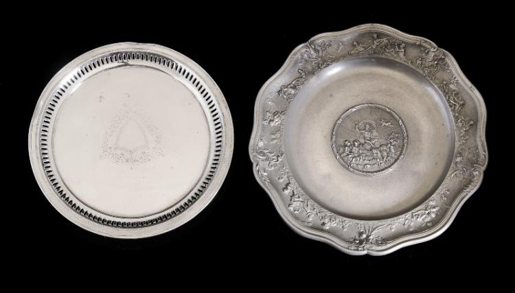 2 Var Salvers etc.  Incl. Hardy Brothers silver plated, pierced edge; & early pewter, embossed classical relief to centre & to rim.