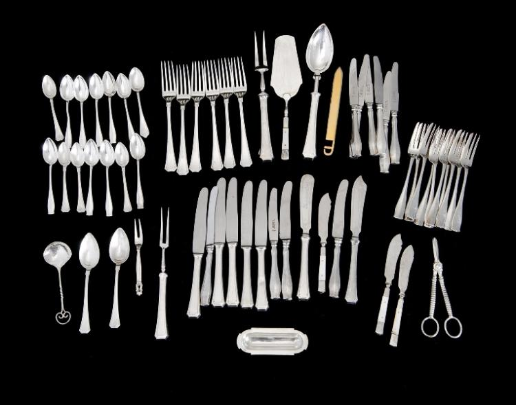 2 Var Continental Silver Plated Part Entree Sets etc.  Incl. 10 each matching fruit knives & forks, & 9 coffee spoons; & 5 each entree knives & forks, grape scissors, & var. MoP handled cake servers etc.