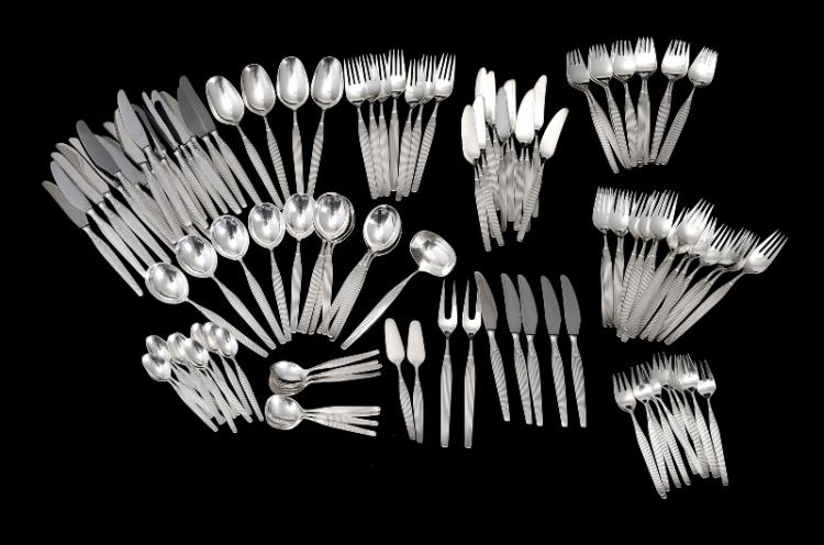 114 Pce Frigast Denmark Silver Plated Cutlery Set.  Settings for 12, incl. dinner knives, forks, spoons, entree & fish knives & forks, tea spoons, jam spoons, & serving spoons etc.