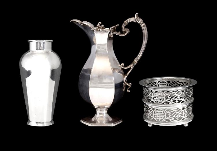 Shanghai Tang Silver Plated Champagne Bottle Holder etc.  Also Georgian style hexagonal silver plated coffee pot; & silver plated baluster shaped vase.