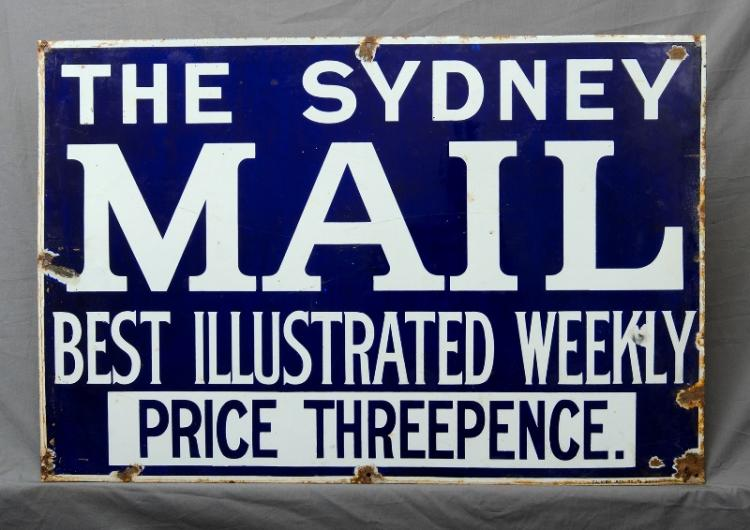 Early The Sydney Mail Enamel Sign.  'Best Illustrated Weekly. Price Threepence,' c1920/30s. (Enamel losses around fixing holes).