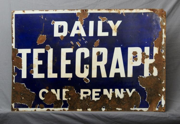 Early 'Daily Telegraph' Sign. 'One Penny.' Porcelain enamel. (Extensive losses). c1920s.
