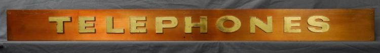 1960s 'Telephone' Sign. Lacquered brass on copper.