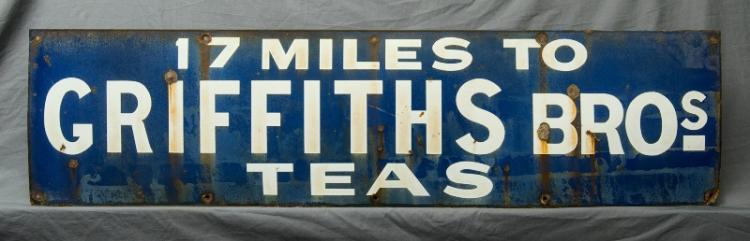 Early 'Griffiths Bros' Enamel Sign.  '17 miles to Griffiths Bros Teas.' Early 20th C.