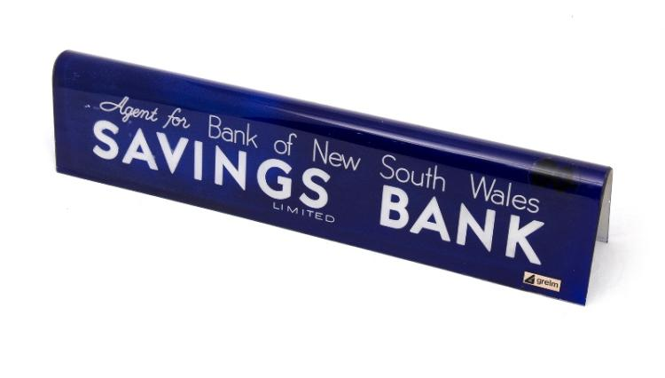 Bank of NSW Savings Sign [Westpac]. Bank agency sign. Blue plastic. Marked 'Grelm' c1970s.
