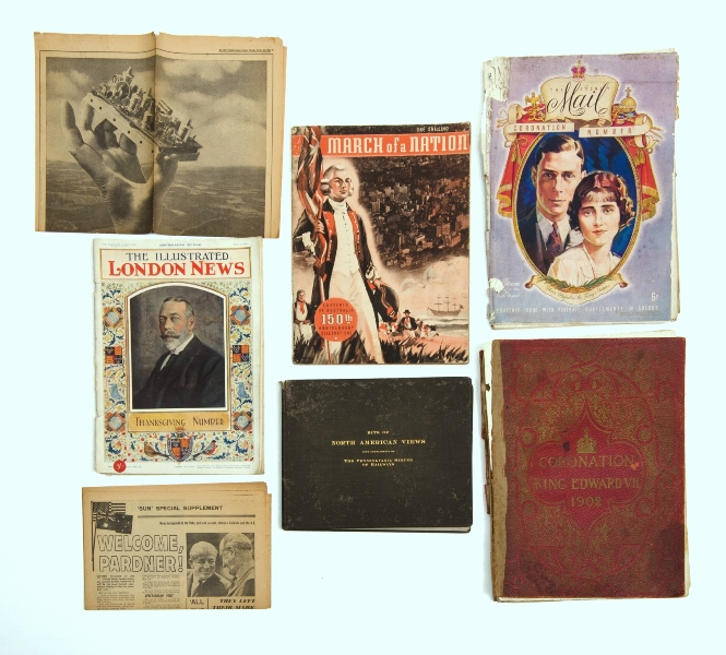 BOOK, USA View & Coronation Magazines.  'Bits of North American Views,' pub. The Pennsylvania System of Railways, 1902; & various periodicals incl. Coronation King Edward 1902; Sydney Mail, KGV, 1937 etc.
