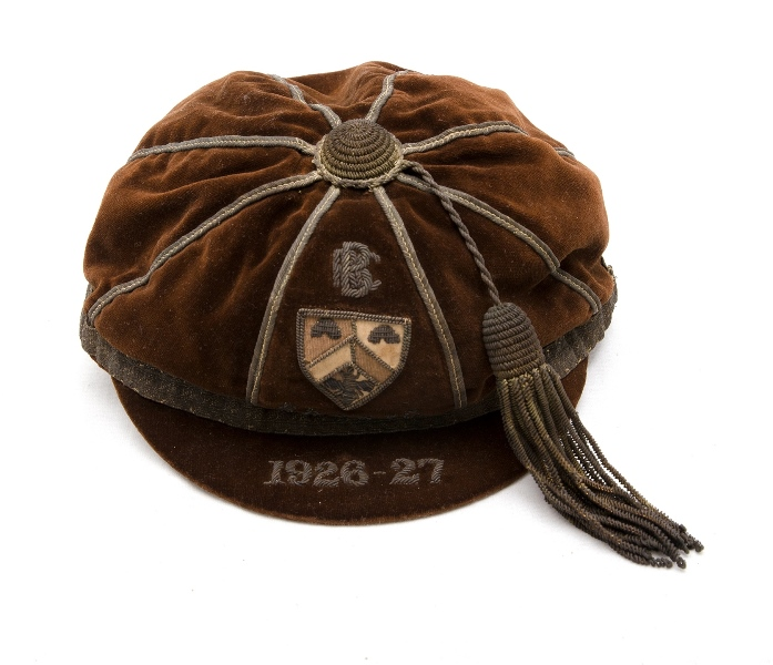 British Sporting Cap 'BRCRFC 1926-27'.  Brown velvet with letters date & tassel sewn in silver. Shield with bee & hives. Cap made by 'Schools Co-Operative Society Ltd. Regency Street, Westminster. S.W.1.'