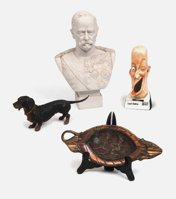 4 Var Decorative Items.  Incl. metal dachshund dog; Parian Lord Roberts bust, dated verso 1900; Sweet Adeline ashtray; & metal