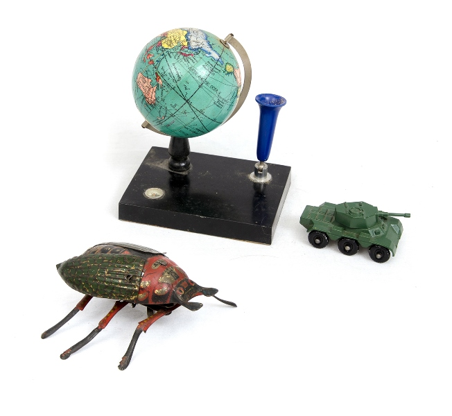 Toys, Incl Lehmann Clockwork Beetle.  Functional tinplate beetle with losses to 1 leg; Japanese toy globe desk set; & Lesney Matchbox Saladin armoured car.