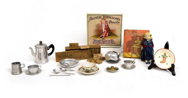 Qty Early Toys. Incl. aluminium tea set; German bisque doll; wood dominoes (1 missing); & 1934 Shirley Temple fan book.