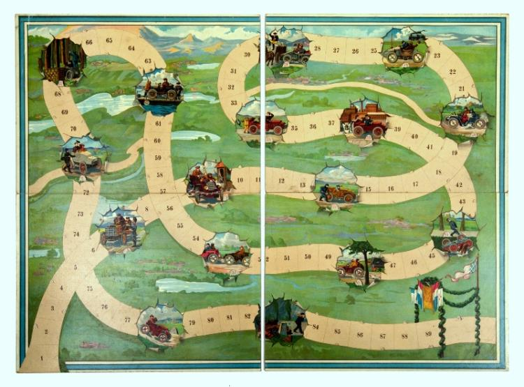 Circa 1910 Motoring Game Board.  European colourful lithographed board in 2 separate sections, as issued.