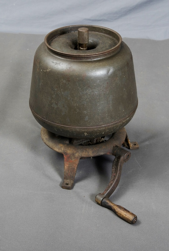 Early Steel Butter Churner.  Crank handle, signed '60 Revs per min' & 'KO6602.' c1910/20s.
