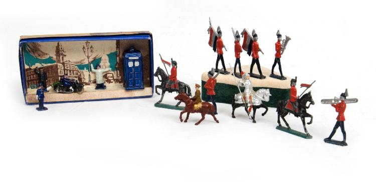 Qty Pre War Lead Figures.  Incl. boxed police set; & part Lancers Parade.