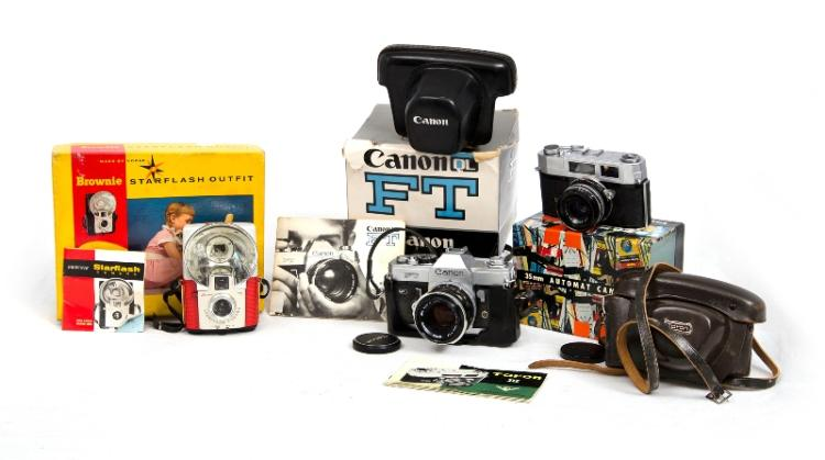 3 Film Cameras in Original Packaging. Incl. Canon FT SLR; Taron Rangefinder; & Kodak Brownie Starflash.