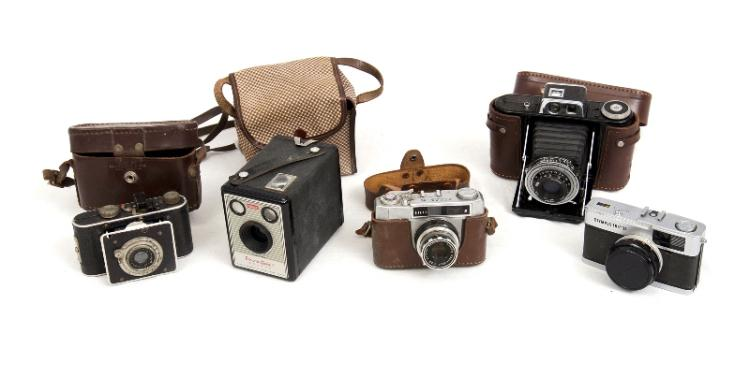 5 Var Cameras.  Incl. Agifold; Olympus Trip; Atlas II; Foth; & Kodak Brownie Box.