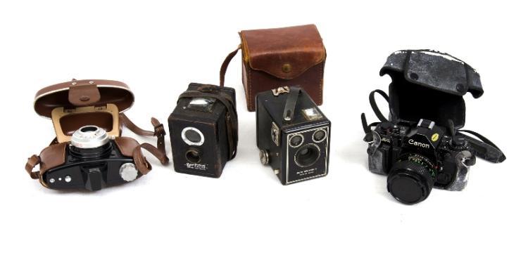 4 Var Film Cameras.  Incl. Canon AI SLR; Agfa Click II; Ensign Ful-vue; & Kodak Model C Box.